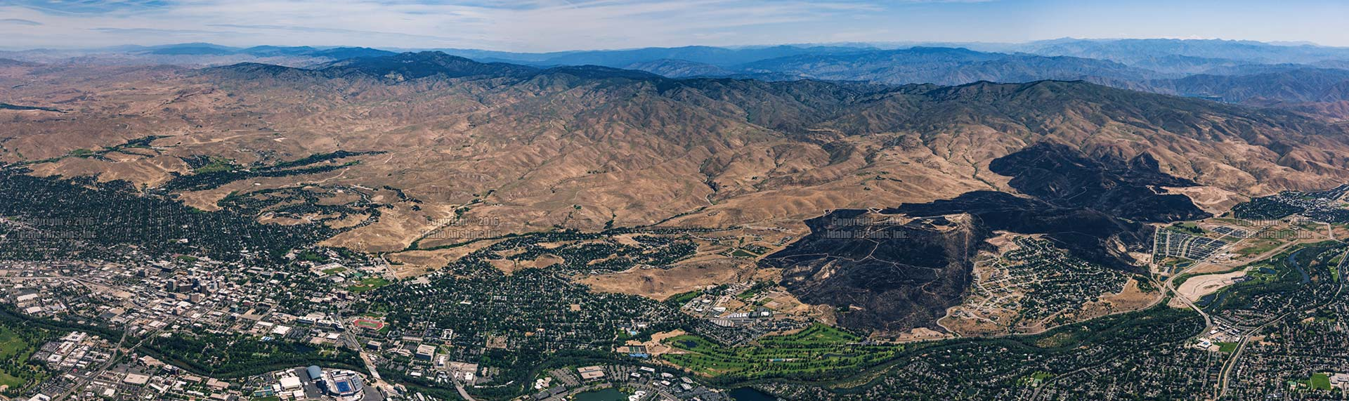 Aerial Photograph of the Table Rock Fire footprint, Downtown Boise, Idaho, and Boise State University