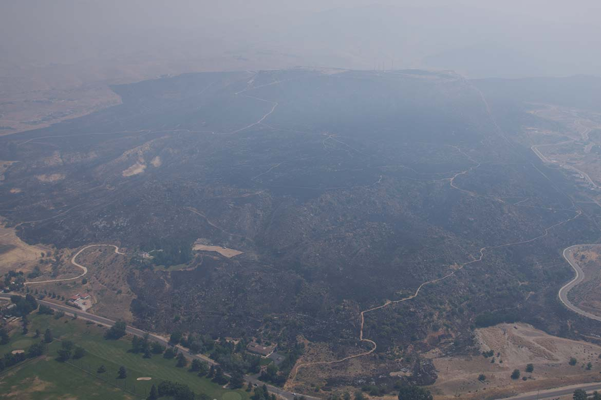 Aerial image of the Table Rock Fire in Boise, Idaho, During the Burn.