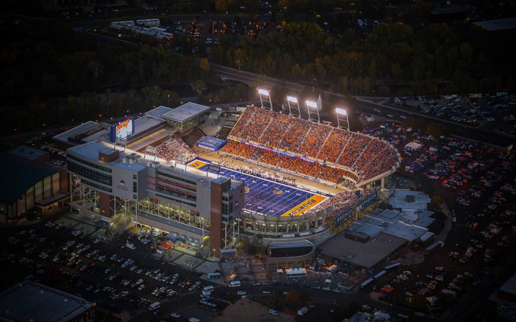 Aerial Photography-Boise State Football in Albertson Stadium at Night.