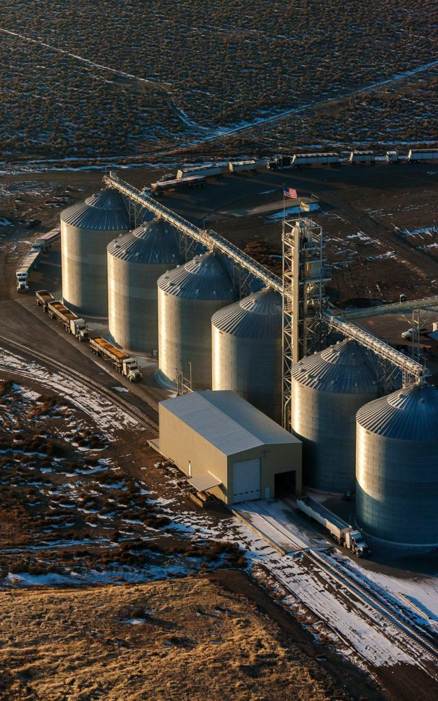 Aerial Photography-Truck Loading Que at Sunrise Near Mountain Home, Idaho.