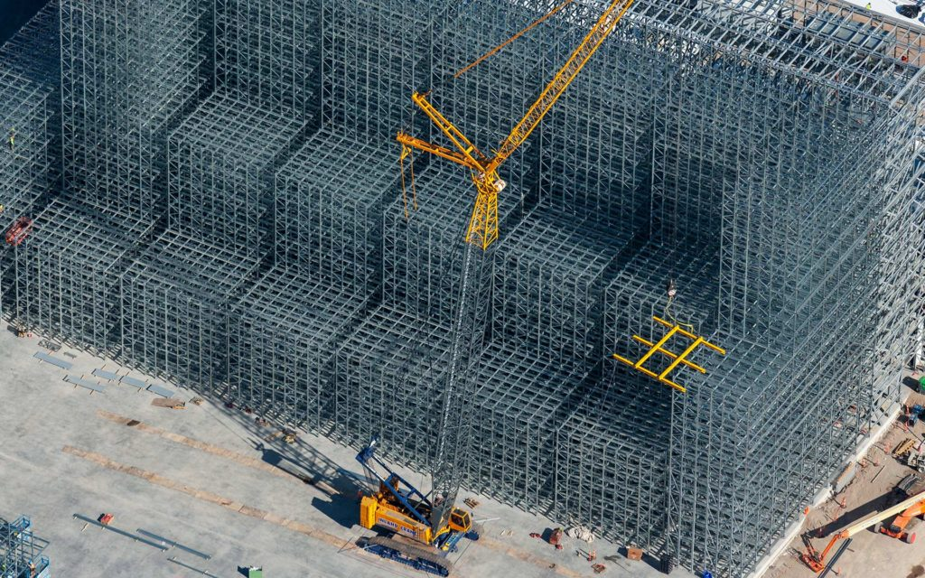 Aerial Photography-Crane During Construction of Agricultural Processing Facility, Burley, Idaho.