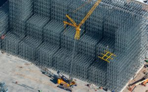 Aerial Photography, Crane During Construction of Agricultural Processing Facility, Burley, Idaho.