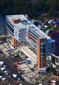 Aerial Photography, Stueckle Sky Center, Boise State Albertsons Stadium, With Special Effects.