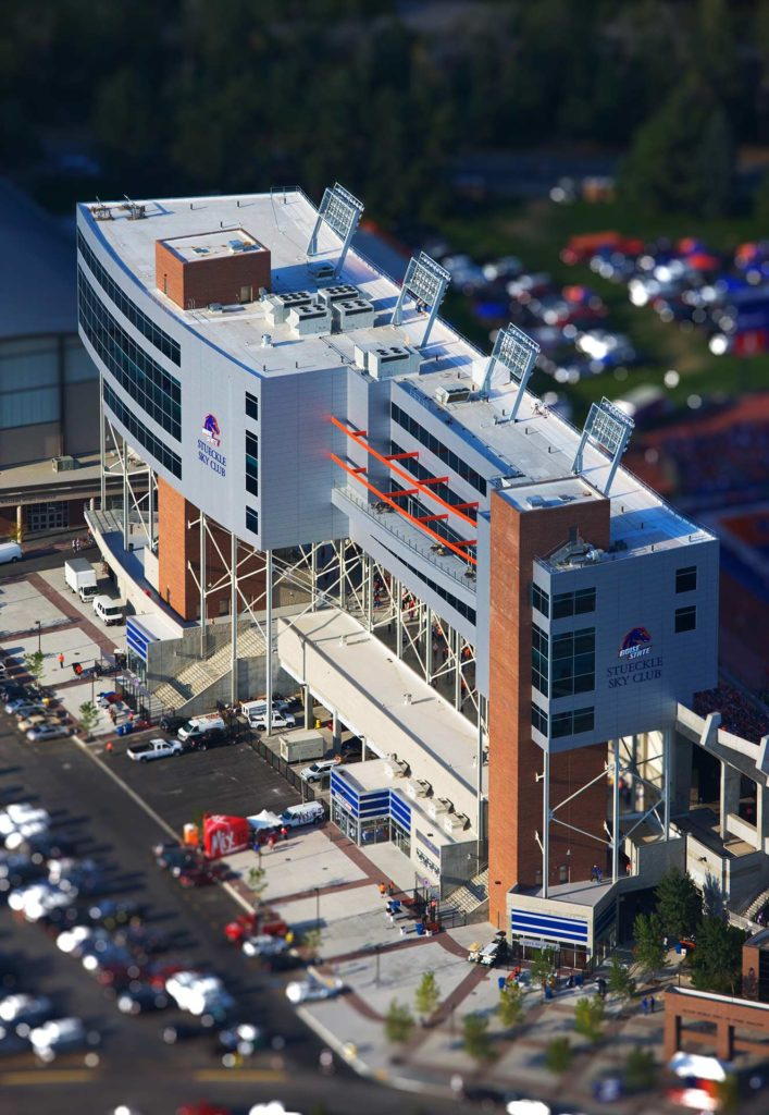 Aerial Photography-Stueckle Sky Center, Boise State Albertsons Stadium, With Special Effects.