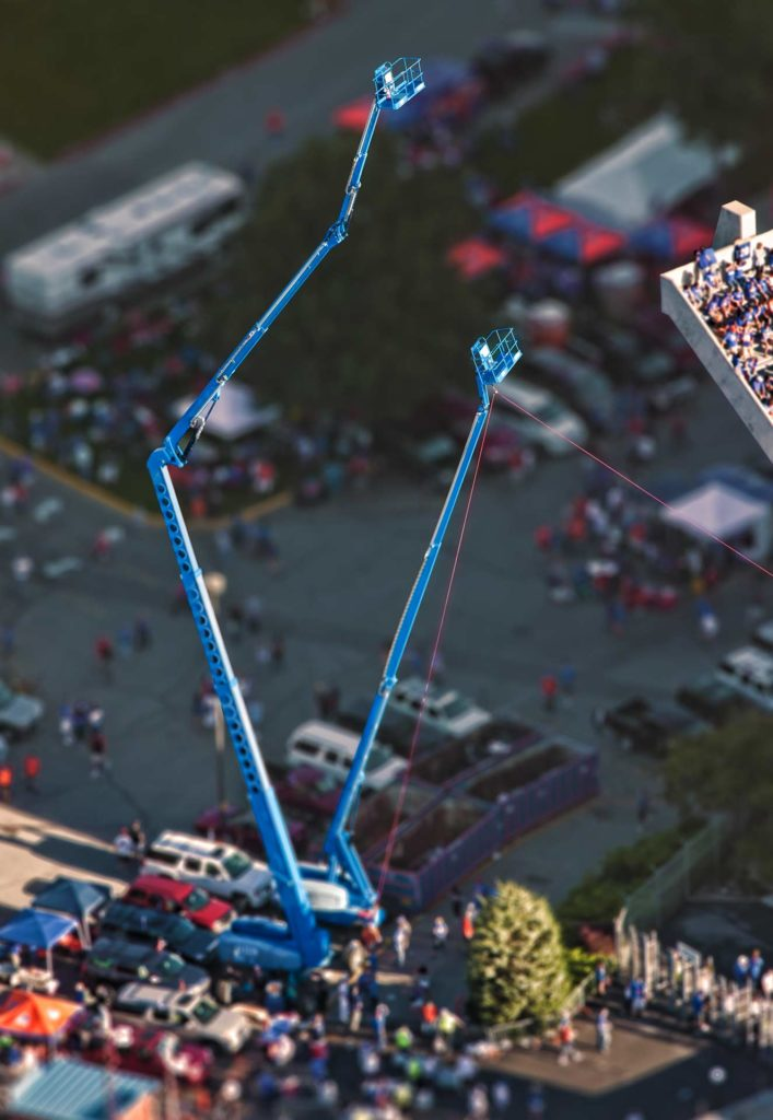 Aerial Photography-Man Lifts at NCAA Event.