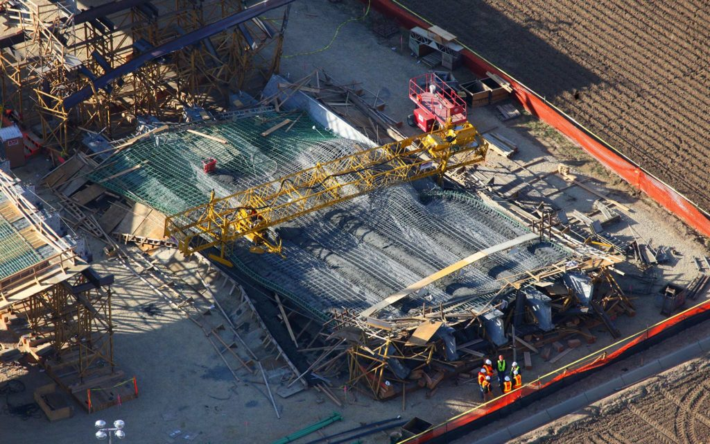 Forensic Aerial Photography-Bridge Component Collapse During Construction.