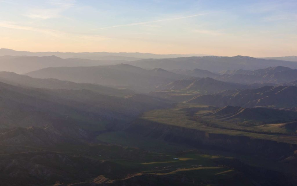 Aerial Photography-South Fork of the Boise River Just After Sunrise.