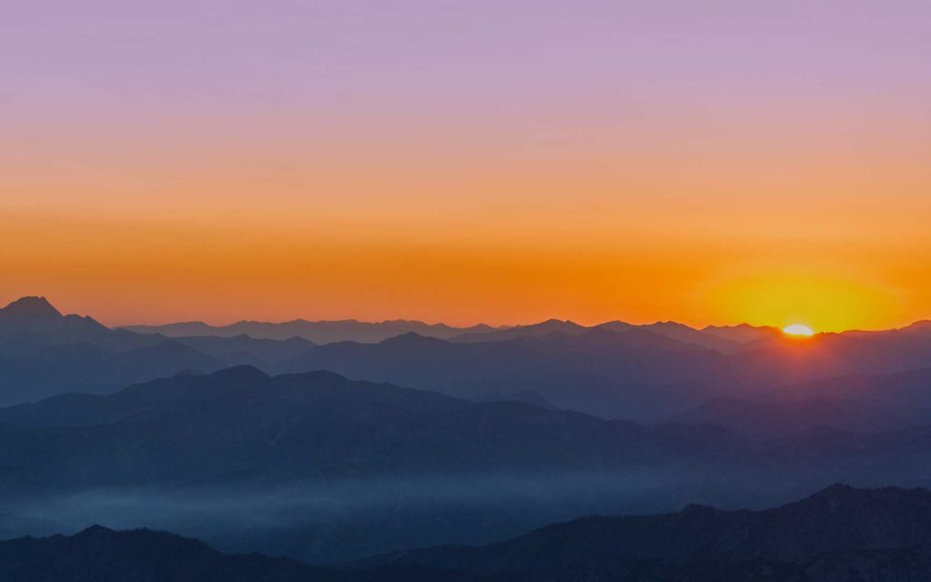Aerial Photography-Sunrise Over Central Idaho Mountains.