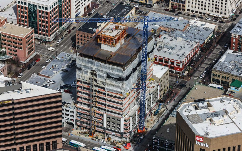 Aerial Photography-Construction Crane at Zion's Bank (8th & Main) in Downtown Boise, Idaho.