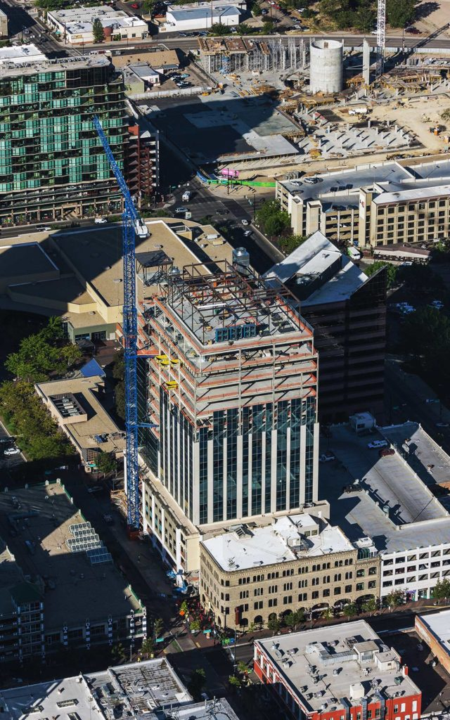 Aerial Photography-Construction of Zion's Bank (8th & Main), Dowwntown Boise, Idaho, With Cranes; JUMP in the Background.