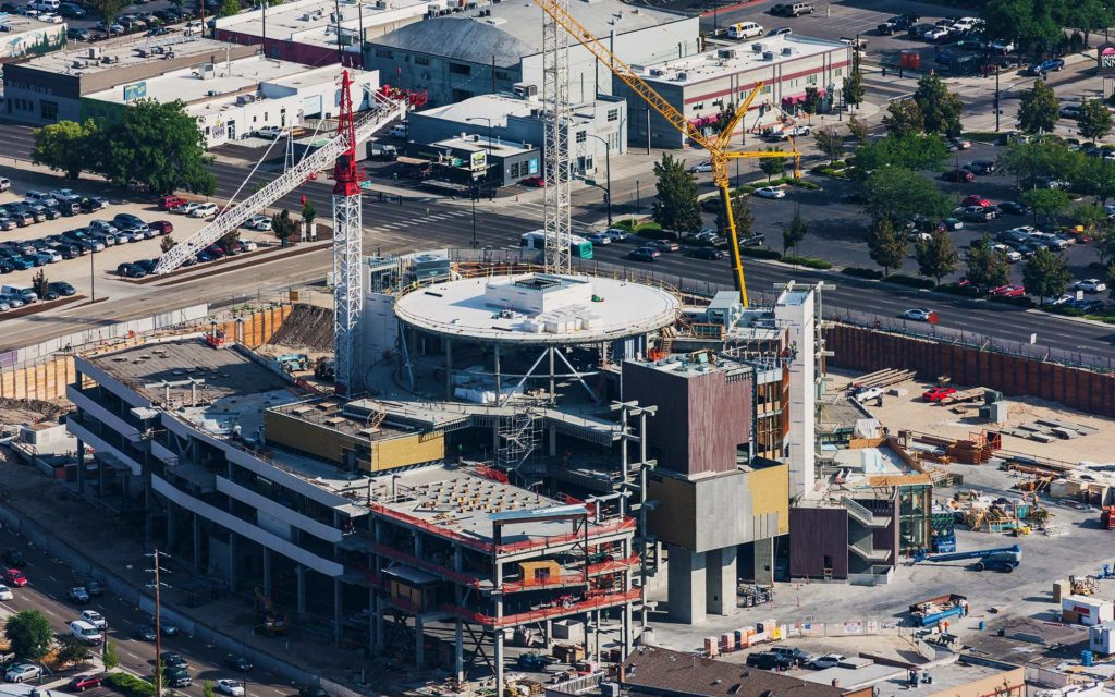 Aerial Photography-JUMP Construction Downtown Boise, Idaho, with Cranes.