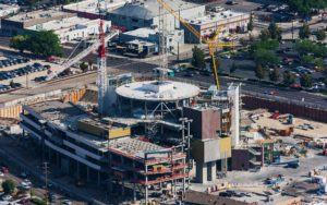 Aerial Photography, JUMP Construction Downtown Boise, Idaho, With Cranes.