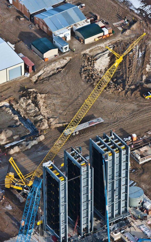 Aerial Photography-Crane Placing Heat Exchangers at Natural Gas Generation Plant During Construction.