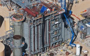 Aerial Photography, Natural Gas Power Generation Plant Construction With Cranes.