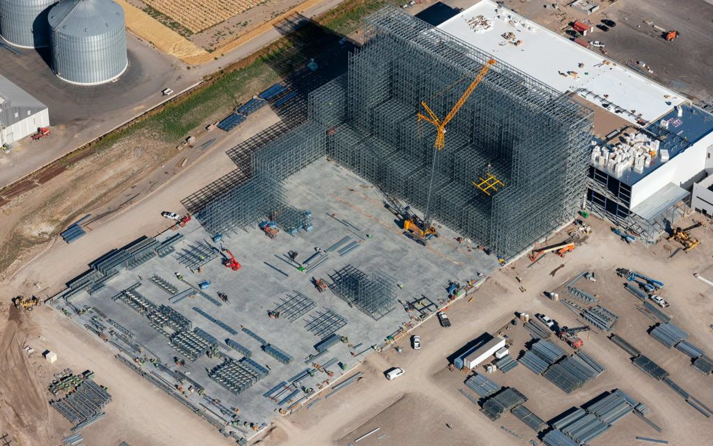 Aerial Photography-Construction of Agricultural Processing Plant in Burley, Idaho with Crane.