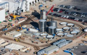 Aerial Photography, Construction at Chobani, Twin Falls, Idaho, With Tanks and Crane.