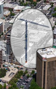 Aerial Photography, Crane at Zion's Bank (8th and Main) Construction, With Special Effects.