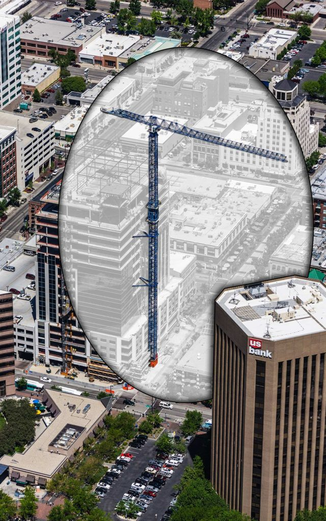 Aerial Photography-Crane at Zion's Bank (8th and Main) Construction, with Special Effects.