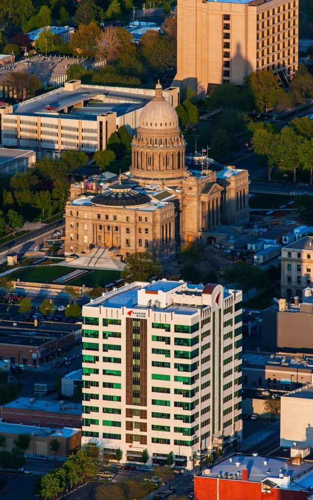 Aerial Photography-Banner Bank Framed in Shadow with Idaho Capitol, Downtown Boise, Idaho.