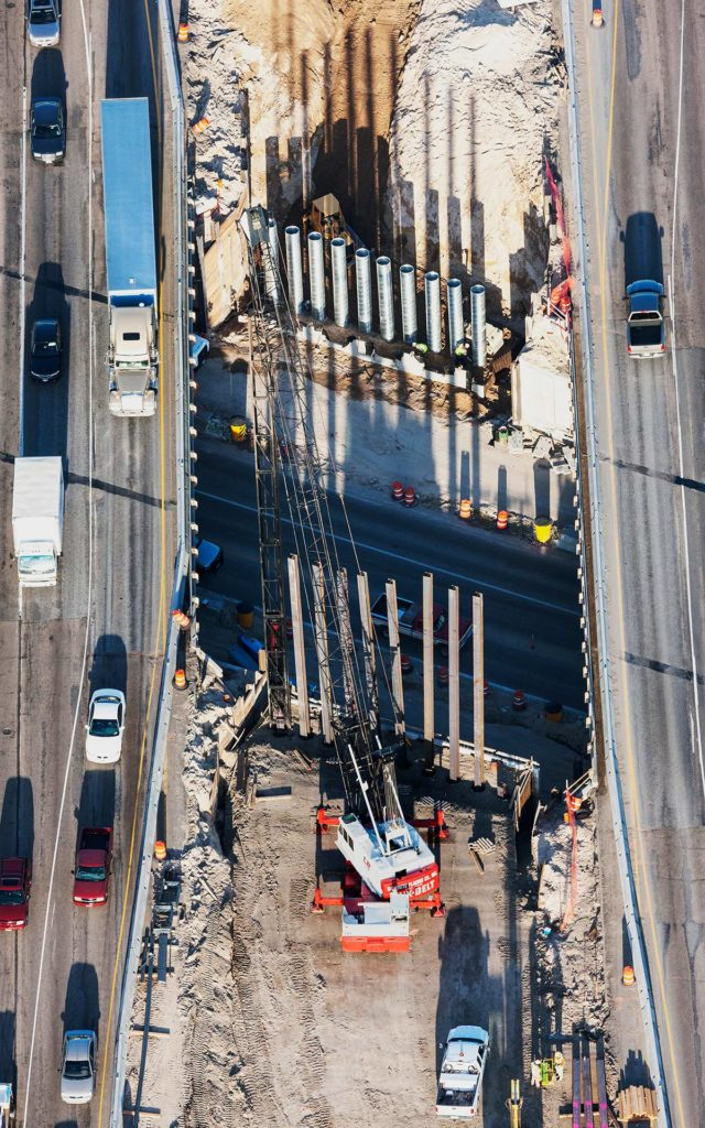 Forensic Aerial Photography-Bridge Construction and Adjacent Traffic Routing and Flow.