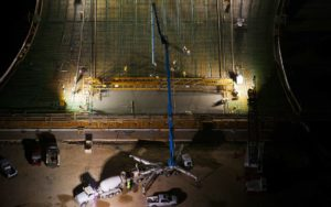 Forensic Aerial Photography, Cement Crane Night Pour.