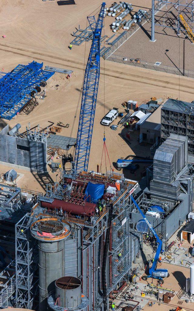 Forensic Aerial Photography-Cranes in Natural Gas Turbine Power Generation Plant Construction.