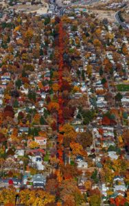 Aerial Photography, Harrison Blvd. Boise, Idaho in Fall Colors.