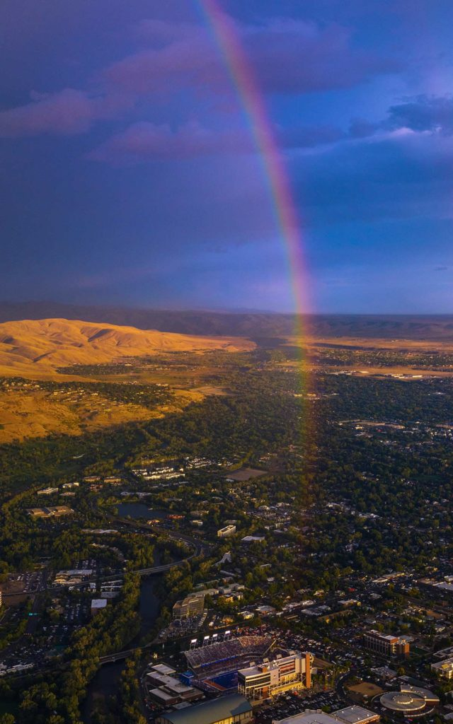 Aerial Photography-East Boise and Boise State Division 1 Football Game at Sunset with Natural Rainbow.