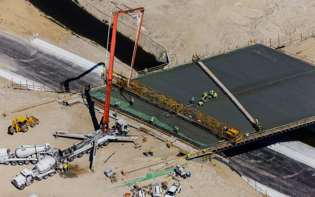 Aerial Photography-Cement Pour, Bridge Construction over Irrigation Canal.