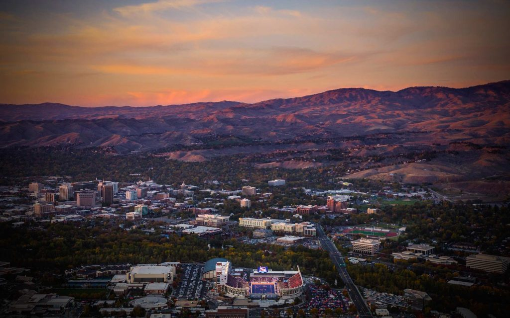 Aerial Photography-Boise State Football, Downtown Boise, and Foothills at Sunset.