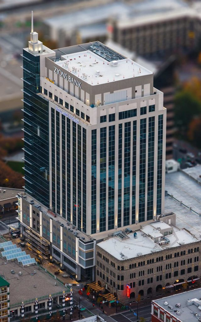Aerial Photography-Zion's Bank (8th & Main) Building in Downtown Boise, Idaho, with Special Effects.