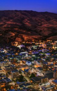 Aerial Photography, Downtown Boise, Idaho at Sunset with Foothills.