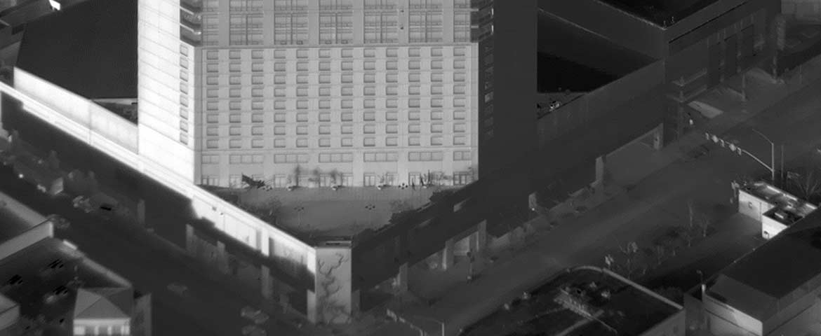 Oblique Aerial Thermograph of The Grove Hotel in Downtown Boise, Idaho.