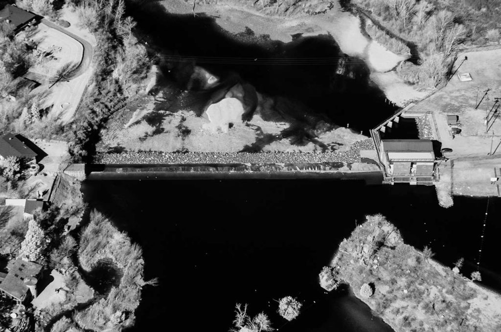 Near Infrared Aerial Photography-Barber Dam on the Boise River in East Boise, Idaho.