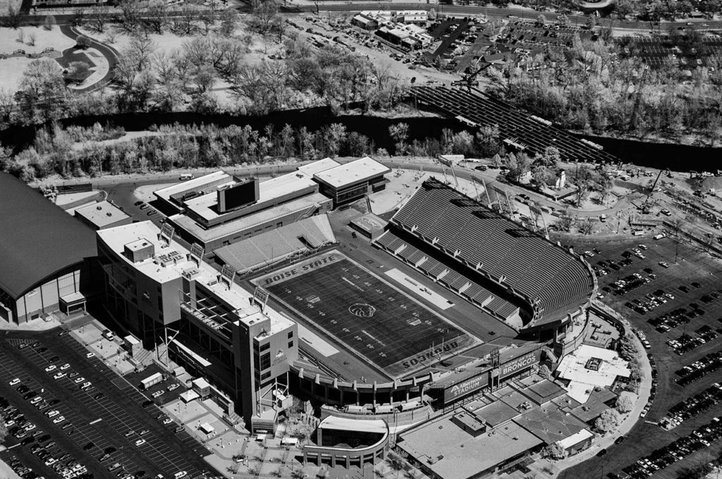 Near Infrared Aerial Photography-Albertson Stadium at Boise State University, Downtown Boise, Idaho.