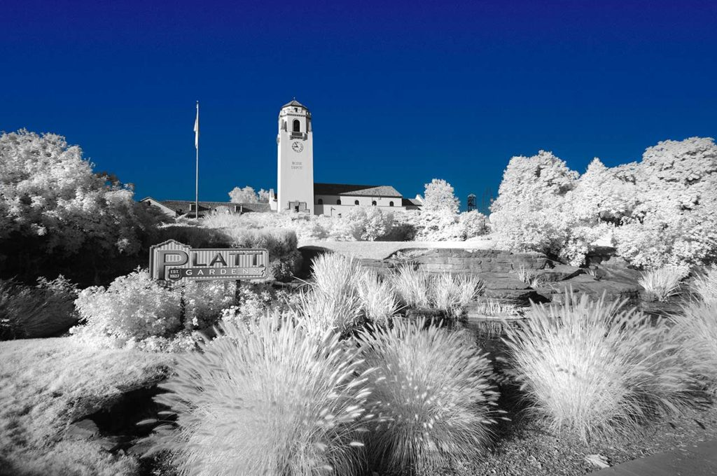 Near Infrared Photography-Boise Depot and Platt Gardens.