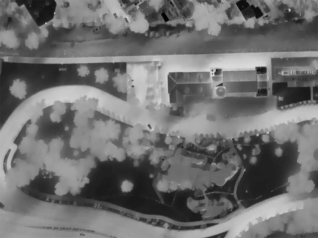 Aerial Thermograph of the Boise Depot and Platt Gardens, Boise, Idaho.