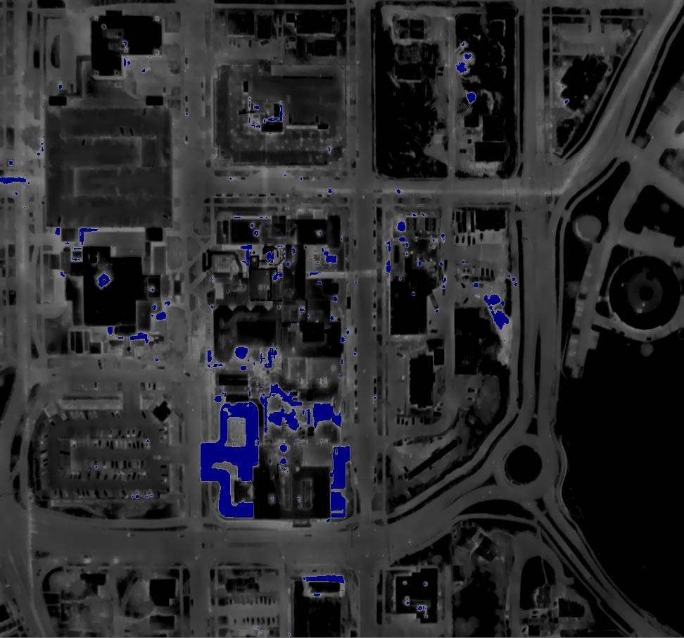 Night Aerial Thermogram of a Hospital Complex with False Color (Dark Blue) Indicating an Reflected Apparent Temperature Exceeding the Approximate Ambient Temperature (20°F).