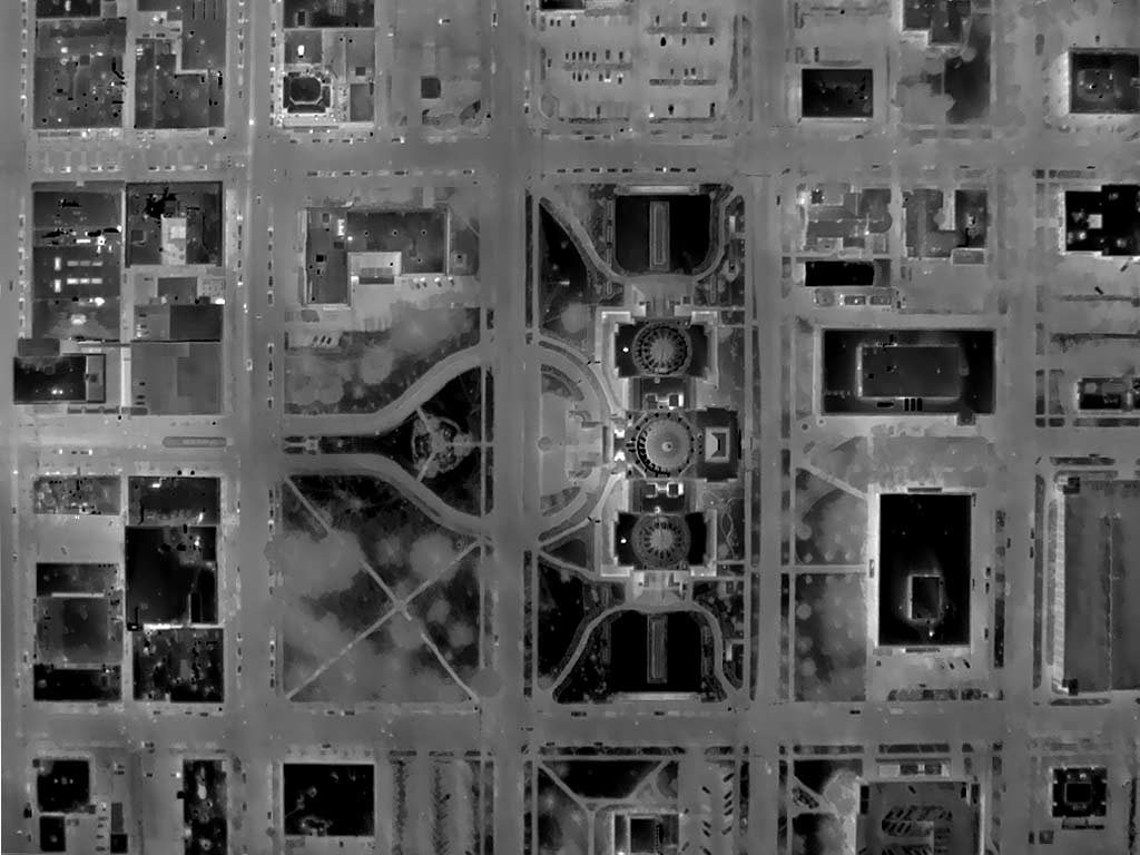 Aerial Thermograph of the Idaho State Capitol Mall Area in Downtown Boise, Idaho.