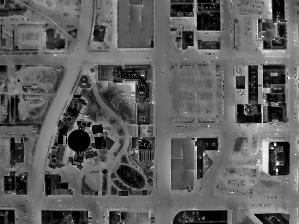Aerial Thermograph of Front St. Just North of the JUMP Complex in Downtown Boise, Idaho.