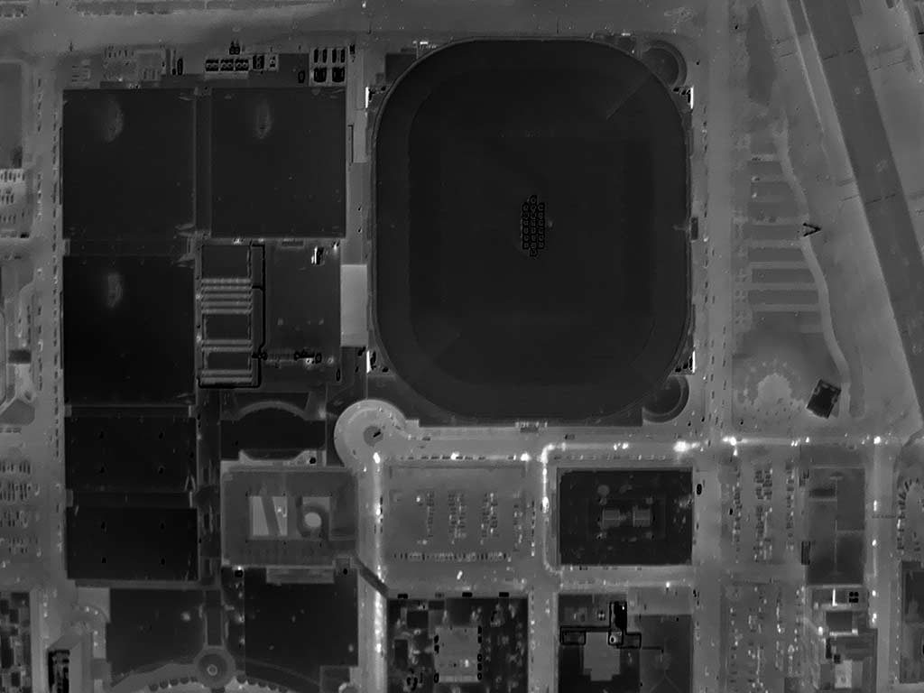 Orthogonal Aerial Thermograph of America's Center (St. Louis, MO Convention Center) in St. Louis.
