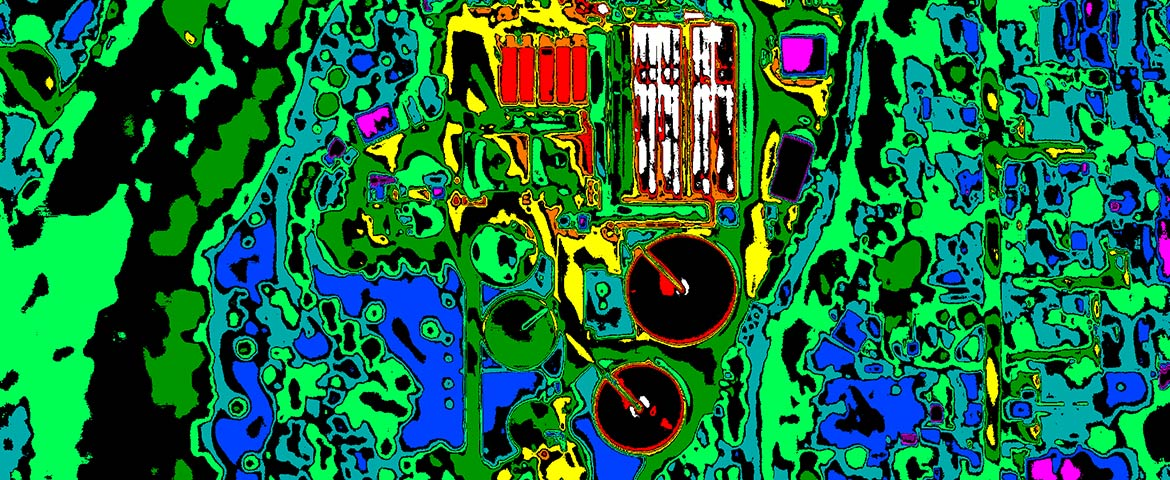 Aerial Thermography of a Wastewater Treatment Plant; General Tuning, High Contrast Gradient Map Palette.