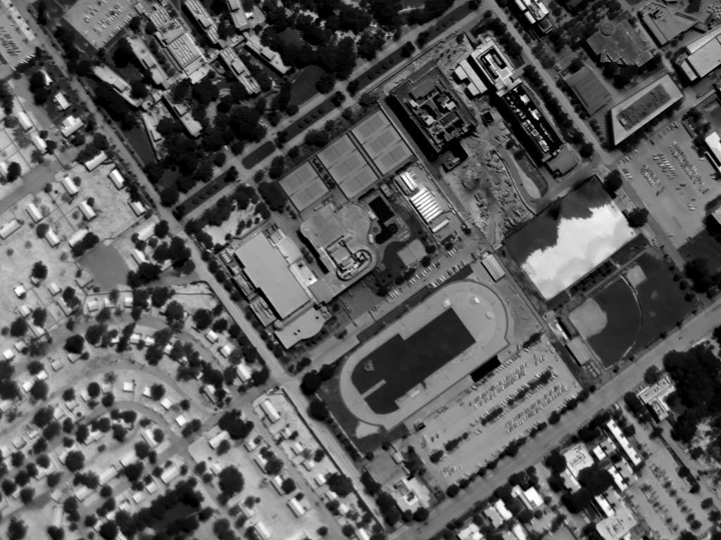 Daytime Aerial Thermograph, University of California Riverside. The Anomalous Patterning on the Right Side is the UCR Soccer Field (Synthetic Turf) Adjacent to a Construction Site.
