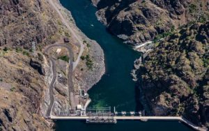 Aerial Photography, Hells Canyon Dam On the Snake River.