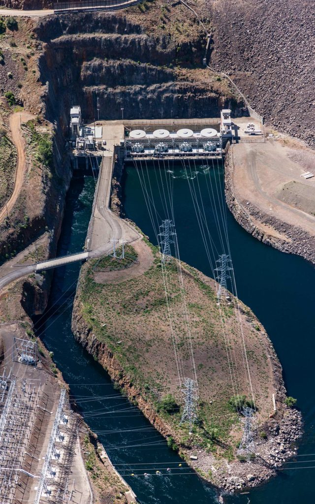 Aerial Photography-Brownlee Dam on the Snake River, North of Ontario, Oregon.