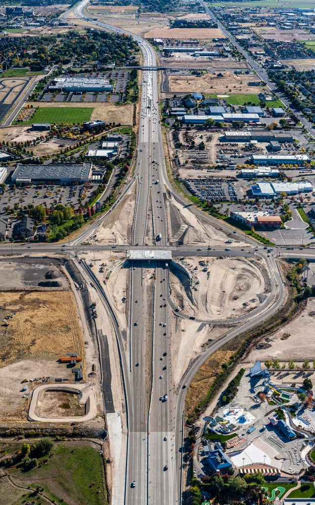 Aerial Photography-Construction of the Meridian Road Interchange on Interstate 84, Meridian, Idaho.