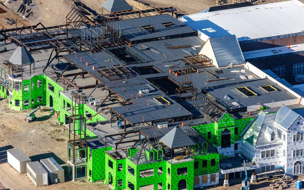 Aerial Photography-Construction of the Melaleuca Headquarters in Idaho Falls, Idaho.
