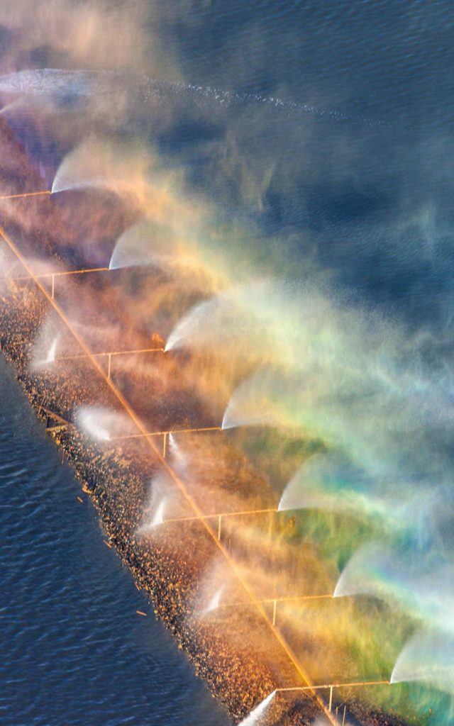 Aerial Photograph-Rainbow in Aeration System, Amaglamated Sugar, Nampa, Idah