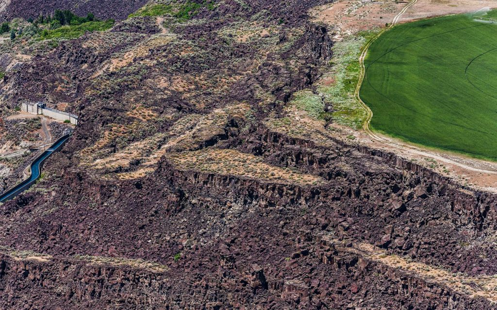 Aerial Photography-Escarpments in the Malad Gorge near Hagerman, Idaho.