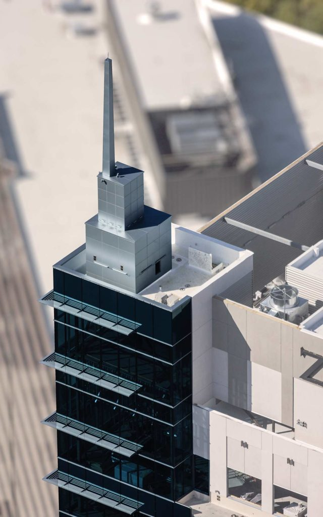 Aerial Photography-Spire on the Zion's Bank (8th & Main) Building in Downtown Boise, Idaho.